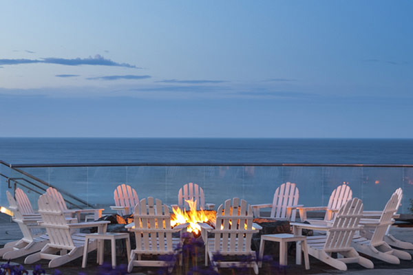 firepit by ocean view